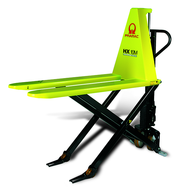 Another example of a hand forklift, this time in neon yellow.